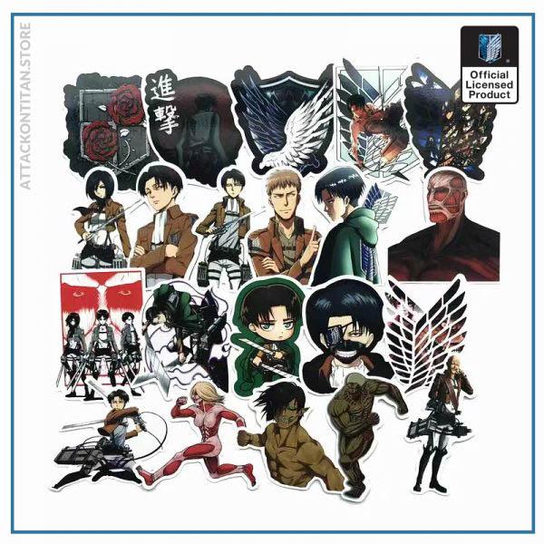 42Pcs lot Japanese Anime Attack on titan Mikasa Levi Eren Stickers For Car Phone Luggage Laptop 2 - Attack On Titan Store