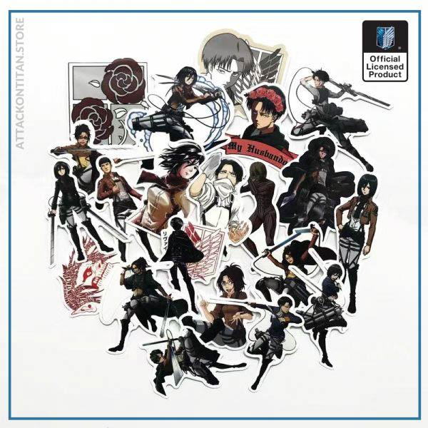 42Pcs lot Japanese Anime Attack on titan Mikasa Levi Eren Stickers For Car Phone Luggage Laptop 4 - Attack On Titan Store