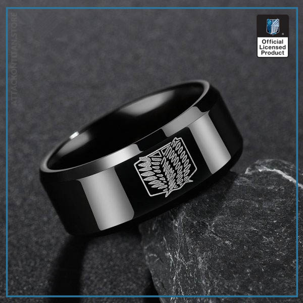 Anime Attack on Titan Rings Levi Ackerman Cosplay Prop Scout Regiment Wings of Liberty Black Rings 4 - Attack On Titan Store