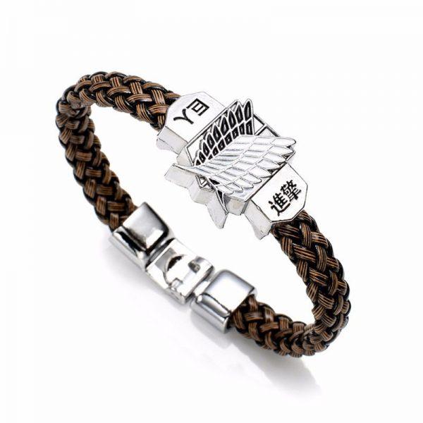 New Fashion Anime Attack On Titan Charm Bracelet Shingeki No Kyojin Cosplay Unisex Leather Bracelets Wristband - Attack On Titan Store