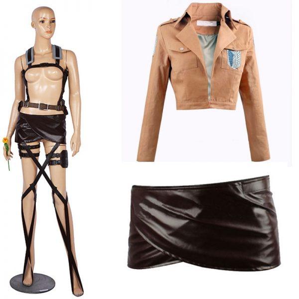 Attack On Titan Cosplay Costume Eren Jaeger Leather Skirt Mikasa Ackerman Suit Cloak Jacket Scout Regiment - Attack On Titan Store