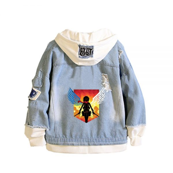 Attack on Titan Anime Denim Jackets Scout Legion Print Jeans Sweatshirt Unisex Harajuku Streetwear Plus Size 3 - Attack On Titan Store