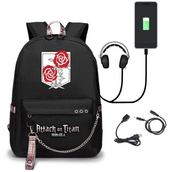 Attack on Titan Backpack Eren Bag Shingeki No Kyojin USB Charging Schoolbag Unisex Titans Attack Backpack 1 - Attack On Titan Store