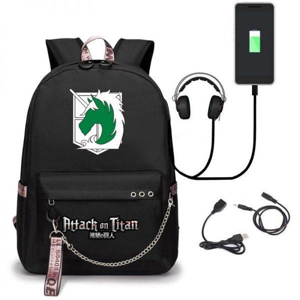 Attack on Titan Backpack Eren Bag Shingeki No Kyojin USB Charging Schoolbag Unisex Titans Attack Backpack 2 - Attack On Titan Store