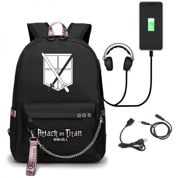 Attack on Titan Backpack Eren Bag Shingeki No Kyojin USB Charging Schoolbag Unisex Titans Attack Backpack 3 - Attack On Titan Store