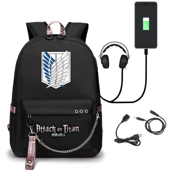 Attack on Titan Backpack Eren Bag Shingeki No Kyojin USB Charging Schoolbag Unisex Titans Attack Backpack - Attack On Titan Store