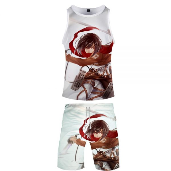 High Quality 3D Attack On Titan Two Piece Set Summer Baseball Tank Tops Beach Shorts Casual - Attack On Titan Store